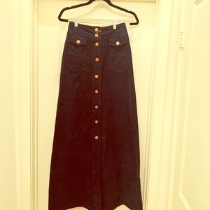See by Chloe size 4 long dark blue cord skirt new.